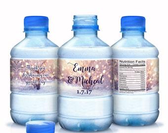 Winter Wedding Decor - Snowflake Wedding Decor - Snowflake Water Bottle Labels - 30 Bottled Water Labels - Waterproof Labels - Christmas