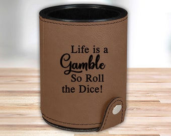 Personalized Leather Dice Cup | Dark Brown |  Groomsmen Dice Cup | Groomsmen Gifts | Gifts for Dad  | Husband Gift | Gifts for Him