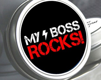 "12 My Boss Rocks Personalized Business Mint Tin Favors - Need a different quantity? Click on the ""choose total"" tab to see all pricing"