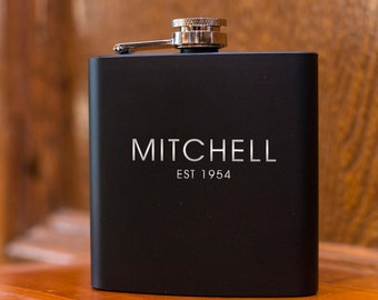 Engraved Flask | Personalized Black Flask | Groomsman Flask | Best Man Flask | Wedding Party Flask | Birthday Flask | Gift for Him