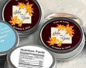 48 Personalized Autumn Leaves Wedding Mint Tin Favors - Fall In Love - Mint To Be - Fall Wedding Decor - Fall Wedding Favors - Fall Leaves