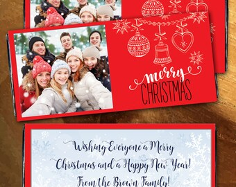 12 Merry Christmas Photo Personalized Candy Bar Wrappers - Photo Hershey, Large Candy Bar Label, Red, Ornaments, Christmas Stocking Stuffer