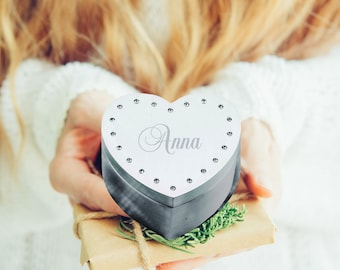 Rhinestone Heart Jewelry Box | Bridesmaids Jewelry Box | Personalized Flower Girl Gift | Maid of Honor Gift | Free Engraving