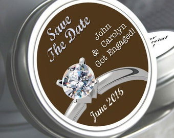 "Save the Date Diamond Ring Mint Tins - Select the quantity you need below in the ""Pricing & Quantity"" option tab"