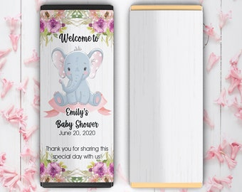 Large Personalized Little Peanut Baby Shower Candy Bar Wrappers - Girls Baby Shower Decor - Pink Elephant Baby Shower Favors (Set of 12)