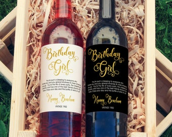 Birthday Girl Wine Bottle Label | Custom Birthday Wine Label | Custom Wine Label | Personalized Wine Label | 21st Birthday | Dirty Thirty