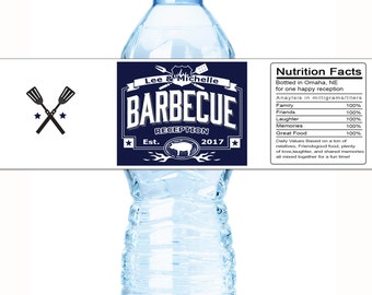 30 Custom Wedding Water Bottle Labels, Barbecue Labels,  BBQ Labels for Weddings, Wedding Reception BBQ Labels, BBQ Labels