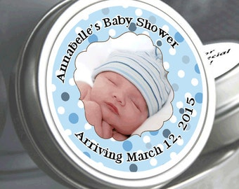 "12 Personalized Blue Photo Badge Baby Shower Mint Tins - Need a different quantity? Click on the ""choose total"" tab to see all pricing"
