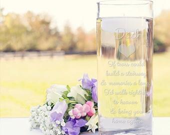 Memorial Vases - In Loving Memory Vase -Floating Wedding Memorial Candle - Memorial Candle - Engraved Memorial Cylinder - If tears could..