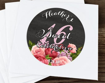 30 Glossy Round Labels - Sweet 16 Pink Roses Favor Labels - Pink Roses Stickers - Birthday Favors - Birthday Decor - Birthday Stickers