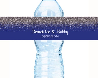"30 Royal Blue & Gray Dark Glitter Water bottle labels. Customizable labels, 8 x 2"", Bridal Shower, Sweet 16, Wedding, Wedding Bottle Wraps"