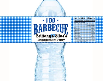 Water Bottle Labels, I Do BBQ, Engagement Party Wedding, Bachelorette, Bridal Shower, Customizable  Personalized Labels - I DO BBQ Blue