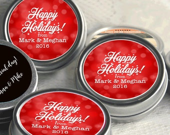 12 Personalized Christmas Mint Tins Favors - Happy Holidays - Christmas Favors - Winter Favors - Christmas Decor - Stocking Stuffers