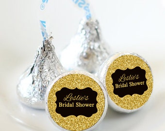 108 Bridal Shower Hershey Kiss® Stickers - Hershey Kiss Stickers Wedding - Personalized Hershey Kiss Labels - Glitter  Hershey Kiss Seals
