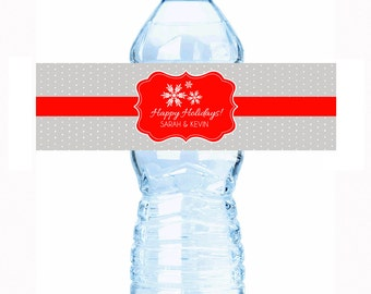"""Personalized Snowflakes Water Bottle Labels - Select the quantity you need below in the """"Pricing & Quantity"""" option tab"""