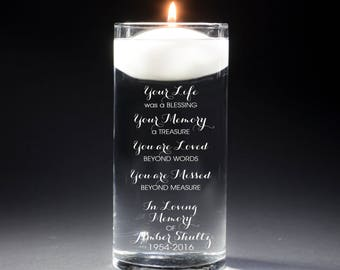Memorial Vases - In Loving Memory Vase -Floating Wedding Memorial Candle - Memorial Candle - Engraved  - Your Life was a blessing