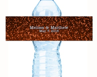 Wedding Water Bottle Labels, Personalized Water Bottle Labels, Modern Orange Glitter Wedding Water Bottle Labels, Wedding Welcome Bags