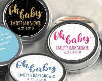 12 Oh Baby Baby Shower Mint Tins - Oh Baby - Baby Shower Favors - Baby Shower Decor - Baby Shower Mints