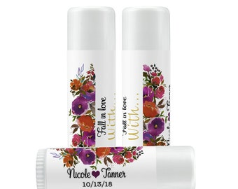 Lip Balm Labels - Personalized Lip Balm Labels - Bridal Shower Lip Balm labels - 1 Sheet of 12 Lip Balm Labels - Fall Colors Lip Balm Labels
