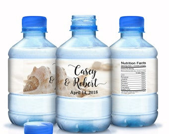 Wedding Water Bottle Labels - 20 Beach Themed Water Labels - Beach Wedding Decor - Bridal Shower Labels - Beach Wedding Favors