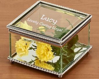 25 Engravable Glass Jewelry Box, Beaded Trinket Box, Personalized Jewelry Box, Personalized Glass, Glass Jewelry Box, Glass Box