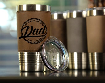 Personalized Leather Travel Tumbler 20 oz | Groomsman Tumbler - Best Man Tumbler - Personalized Travel Mug - Gift for Him - Groomsman Gift