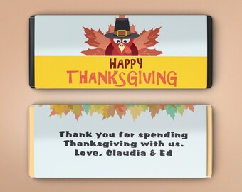 Thanksgiving Favors, Candy Bar Wrappers, Thank You Guest Favors, Party Favors, Personalized Favors, Thanksgiving Wrappers (Set of 12)