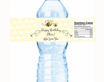 "20 Bumble Bees Personalized Birthday Water Bottle Labels - Select the quantity you need below in the ""Pricing & Quantity"" option tab"