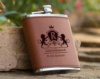 Personalized Monogram Brown Leather Flask - Groomsman Flask - Best Man Flask - Personalized Flask - Brown Flask - Monogram Flask