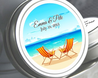 """12 By the Sea Shore Personalized Wedding Mint Tins - Select the quantity you need below in the """"Pricing & Quantity"""" option tab"""