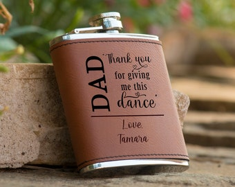 Personalized Thank You For Giving Me This Dance 6 oz. Leatherette Stainless Steel Flask