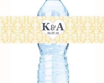Damask Wedding Water Bottle Labels - Custom Bottled Water Labels - Bridal Shower Water Bottle Labels - Heart Themed Labels - Monogram Labels