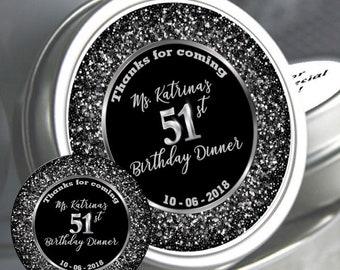 Personalized Birthday Mint Tins - Milestone Birthday - Birthday Favors - Birthday Mints - Birthday Decor - Birthday Party Favor Ideas
