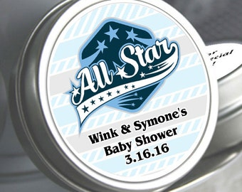 """All Star Baby Shower Favor Mint Tins - Select the quantity you need below in the """"Pricing & Quantity"""" option tab"""