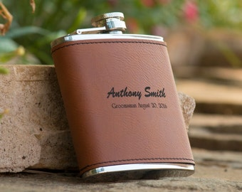 Personalized Brown Leather Groomsman Flask - Best Man Flask - Personalized Flask - Wedding Party Flask - Gift for Groom - Gift for Dad
