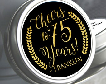 12 - 75th Birthday Mint Tin Favors - 75th Birthday Favors - 75th Birthday Ideas - 75th Birthday Mints - 75th Birthday - Birthday Favors