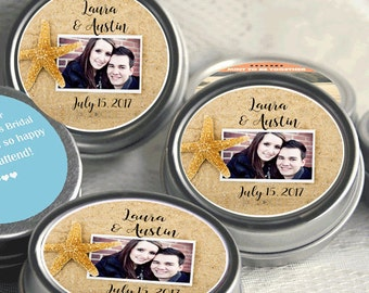 Wedding Favors- 12 Personalized Wedding Mint Tins - Wedding Mints - Mint Favors - Beach Favors - Starfish Favors - Starfish Stickers