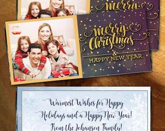 12 Merry Christmas Photo Personalized Candy Bar Wrappers - Photo Hershey, Large Candy Bar Label, Merry Christmas, Christmas Stocking Stuffer