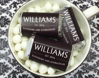Personalized Last Name Vintage Color Coordinated Hershey's Mini Chocolates - Pack of 100