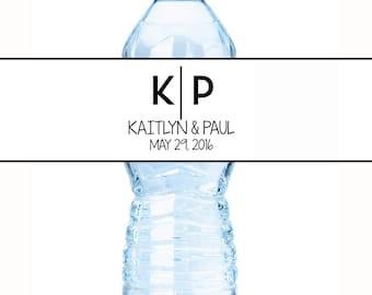 Monogram Water Bottle Labels - 30 Wedding Water Bottle Labels - Monogram Water Labels - Wedding Decor - Initials Water Labels
