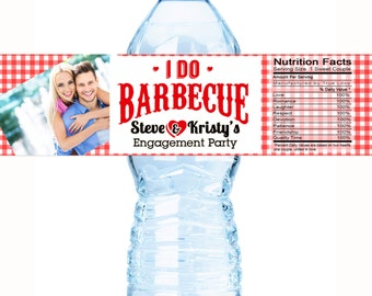 30 Photo Water Bottle Labels, I Do BBQ, Engagement Party Wedding, Bachelorette, Bridal Shower, Customizable  Personalized Labels - I DO BBQ