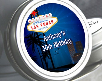 12 Las Vegas Birthday Mint Tins - Las Vegas Favors - Las Vegas Birthday Favors - Las Vegas Birthday Party Supplies