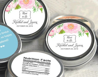 12 Personalized Match My Invitations Mint Tin Favors - Use My Artwork - Wedding Favors - Wedding Candy - Mint to Be - Bridal Shower Favors