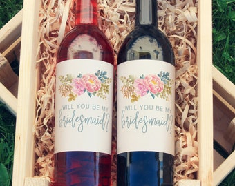 Starfish Wine Labels - Will you be my Bridesmaid Wine Labels -Spring Wedding Favor - Wine Bottle Labels - Wedding Decor