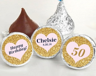 Hershey Kiss® Stickers, Gold Heart Hershey Kiss Stickers Birthday, Personalized Kiss Labels, Wedding Favors, Name, Date. Kiss Seals