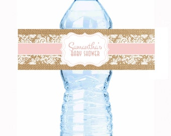 "30 Rustic Burlap and Lace Baby Shower Water Bottle Labels - Select the quantity you need below in the ""Pricing & Quantity"" option tab"