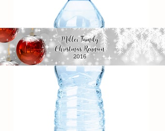 30 Christmas Water Bottle Labels, Personalized Water Bottle Labels,  Holiday Water Labels, Holiday Labels, Christmas Decor - Bottle Labels
