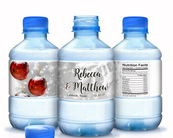Wedding Water Bottle Labels, Personalized Water Bottle Labels,  Christmas Water Labels, Holiday Labels, Christmas Decor - Christmas Wedding