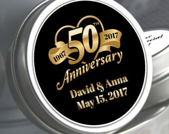 12 - 50th Anniversary Mint Tin Favors - 50th Anniversary  Favors - 50th Anniversary Ideas - 50th Anniversary Mints - 50 Anniversary Decor