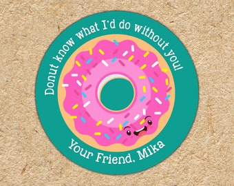 Valentine Stickers | I Donut What I'd Do Without You | Girls Valentine Favors | Donut Stickers | Valentine Tag | Classroom Party Favors